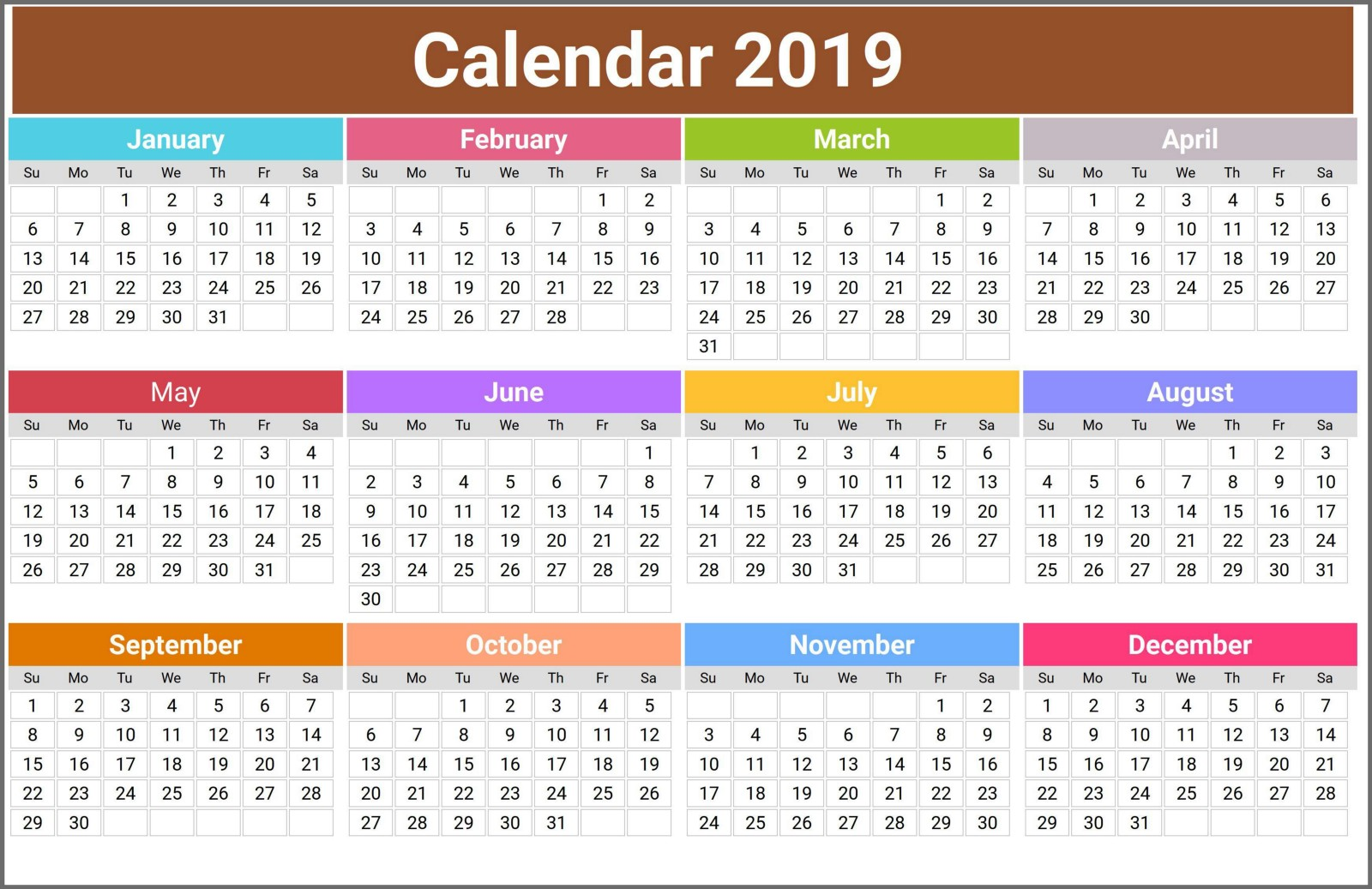 Free Printable Calendar 2019 Usa Uk India Canada
