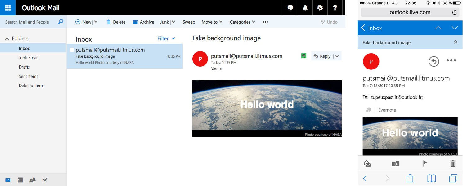Email background image outlook - The Fake Background With A Real Image On Outlook Com Desktop And Mobile