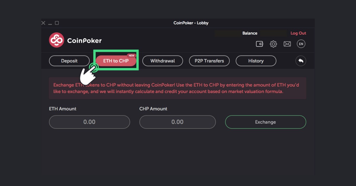 The second step to exchange CHP Tokens in CoinPoker