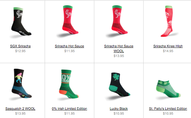 4 different types of sriacha socks. - Why Chivaz Is Not Competing With Stance, SmartWool, DarnTough, HUF