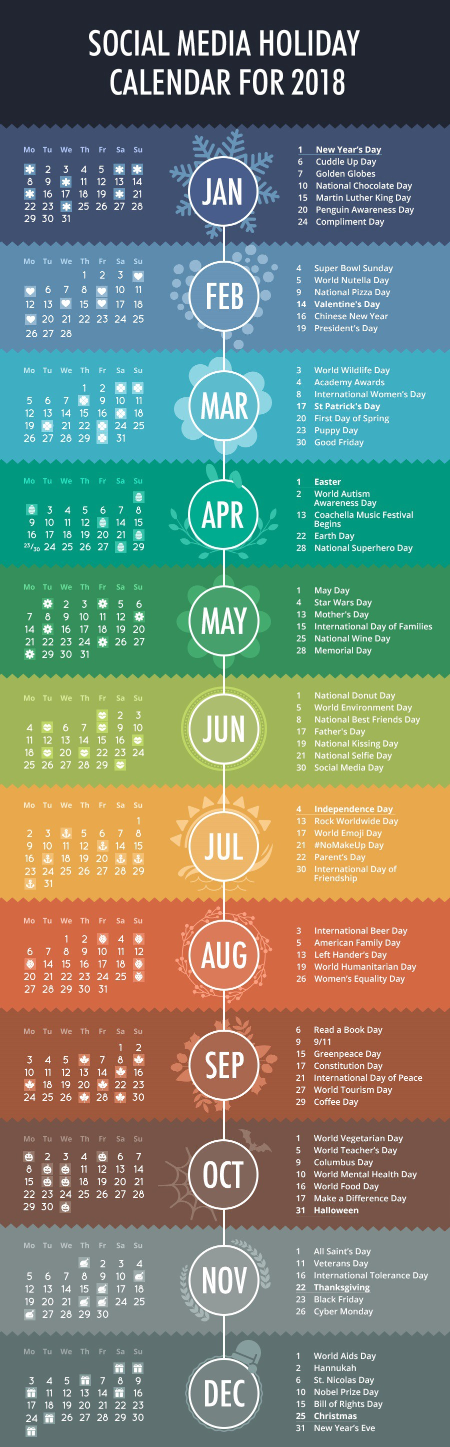 Art Social Calendar : Social media holiday calendar for infographic