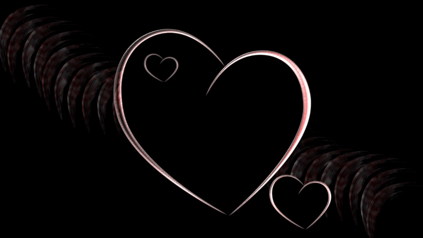 Image description black background with a pink heart in the center a smaller heart inside of the centered heart and a smaller heart below and to the