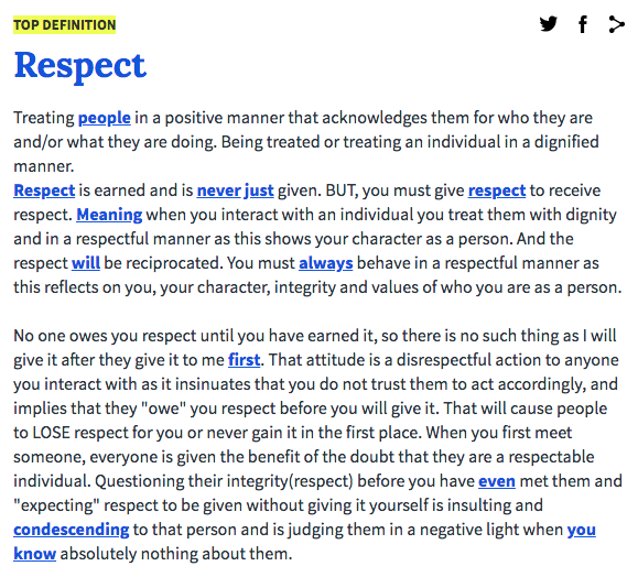 Respect Is A Dangerous Word Tj Peters Medium