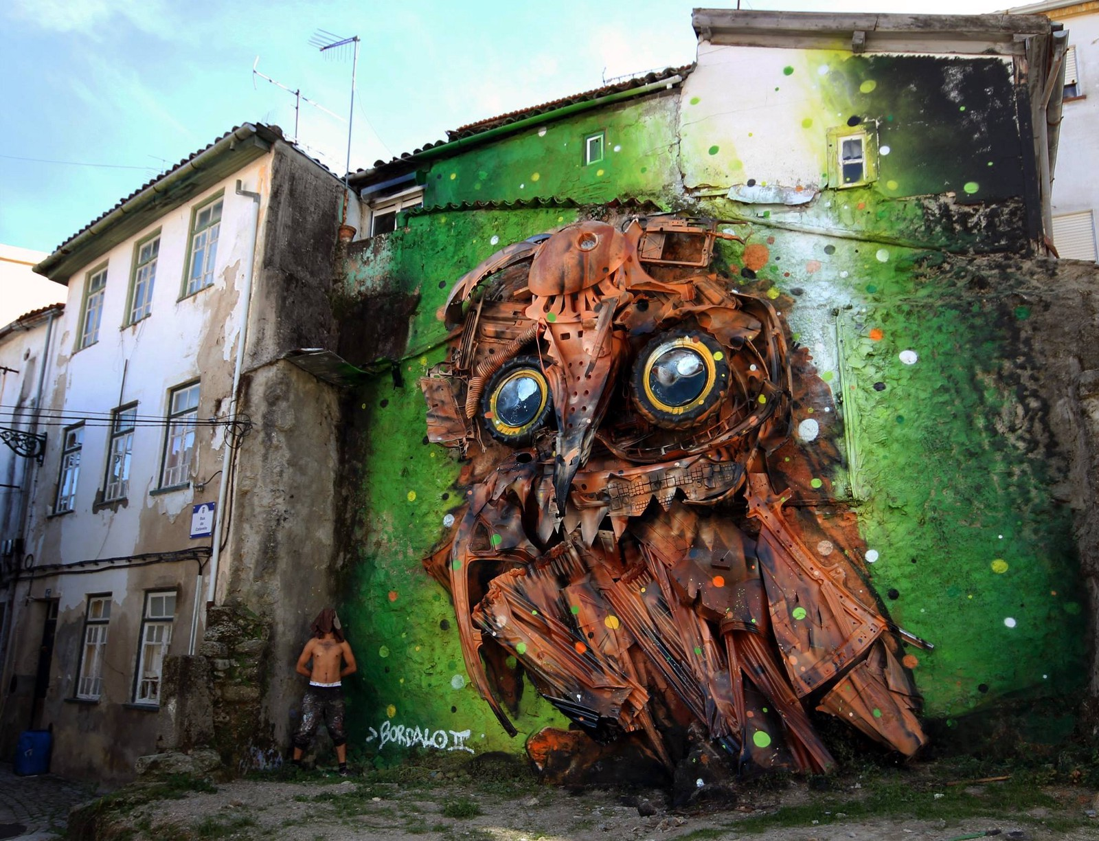 Bordalo ii 3d art installation using recycled tires and discarded materials