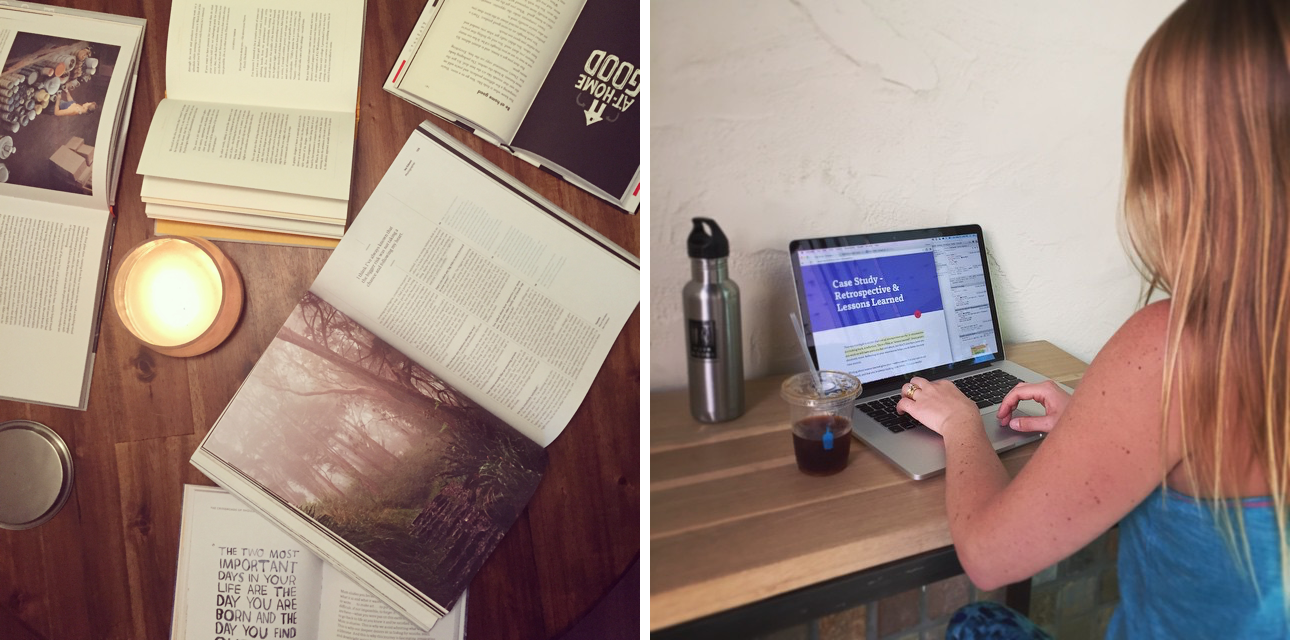 Left: print inspiration for the book. Right: writing at our favorite coffee spot.