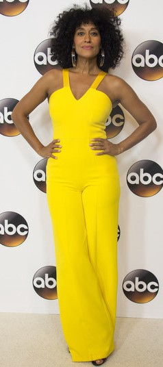 2d6ed321bdd8 Tracie Ellis Ross manages to find the perfect style for her AND be on-trend  in this lively jumpsuit  divine! Credit  AFP Valerie Macon