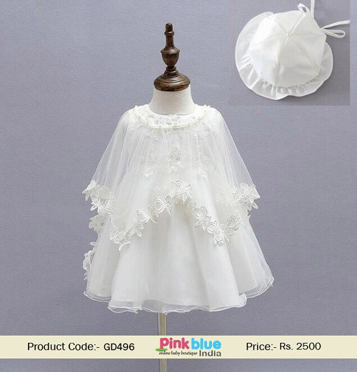 49c795c38 Graceful White Color Catholic Baptism Dress in Cape Style for 0 Months to 2  years Old Little Baby Girls