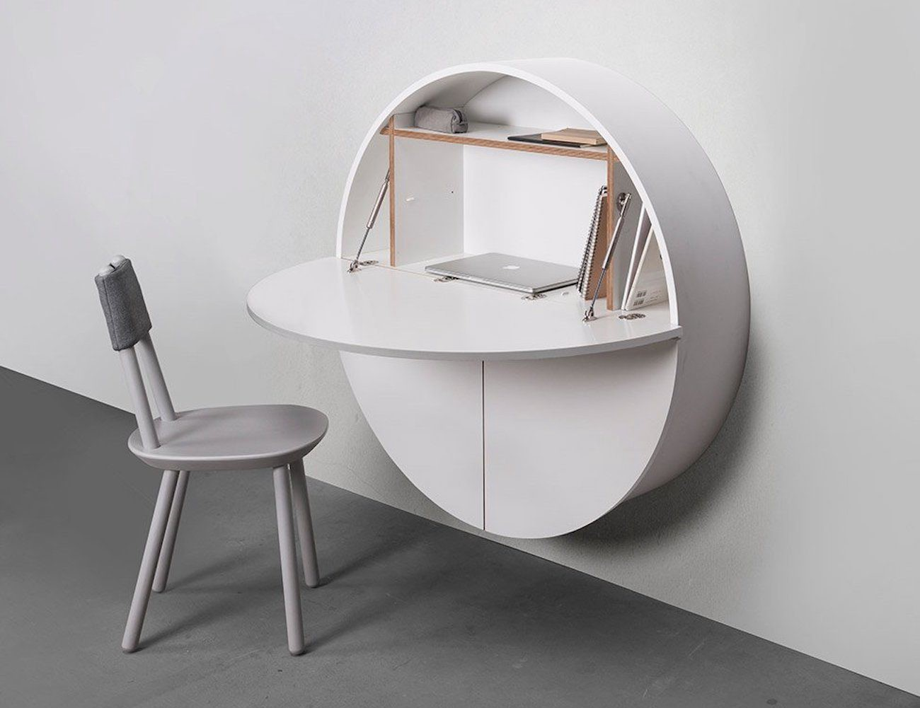 Working In Virtually Any Space, The Pill Desk Looks Like A Simple Circle  When Not In Use. The Cabinet Actually Opens With Three Cupboards.