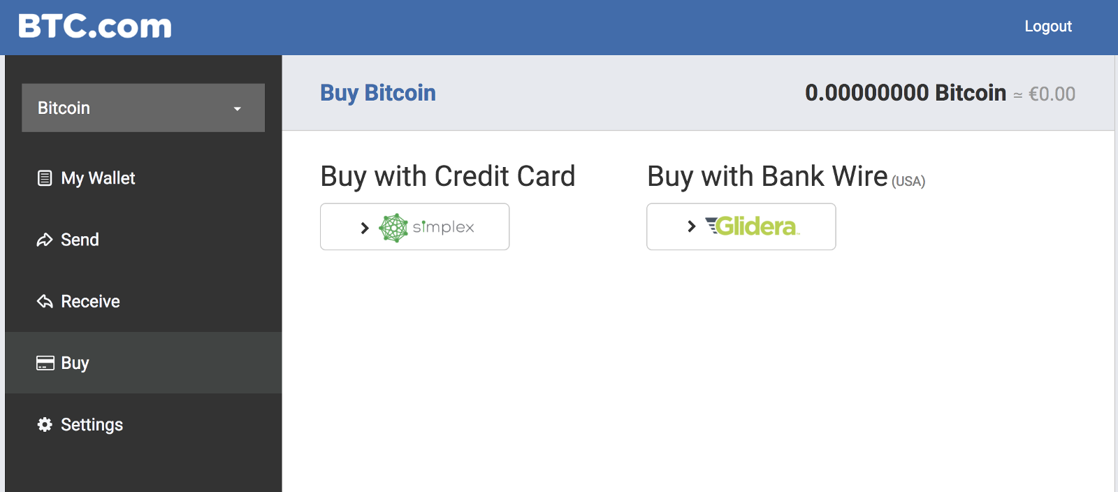 Buy bitcoin with credit card in your wallet the btc blog 1 choose the amount ccuart Image collections