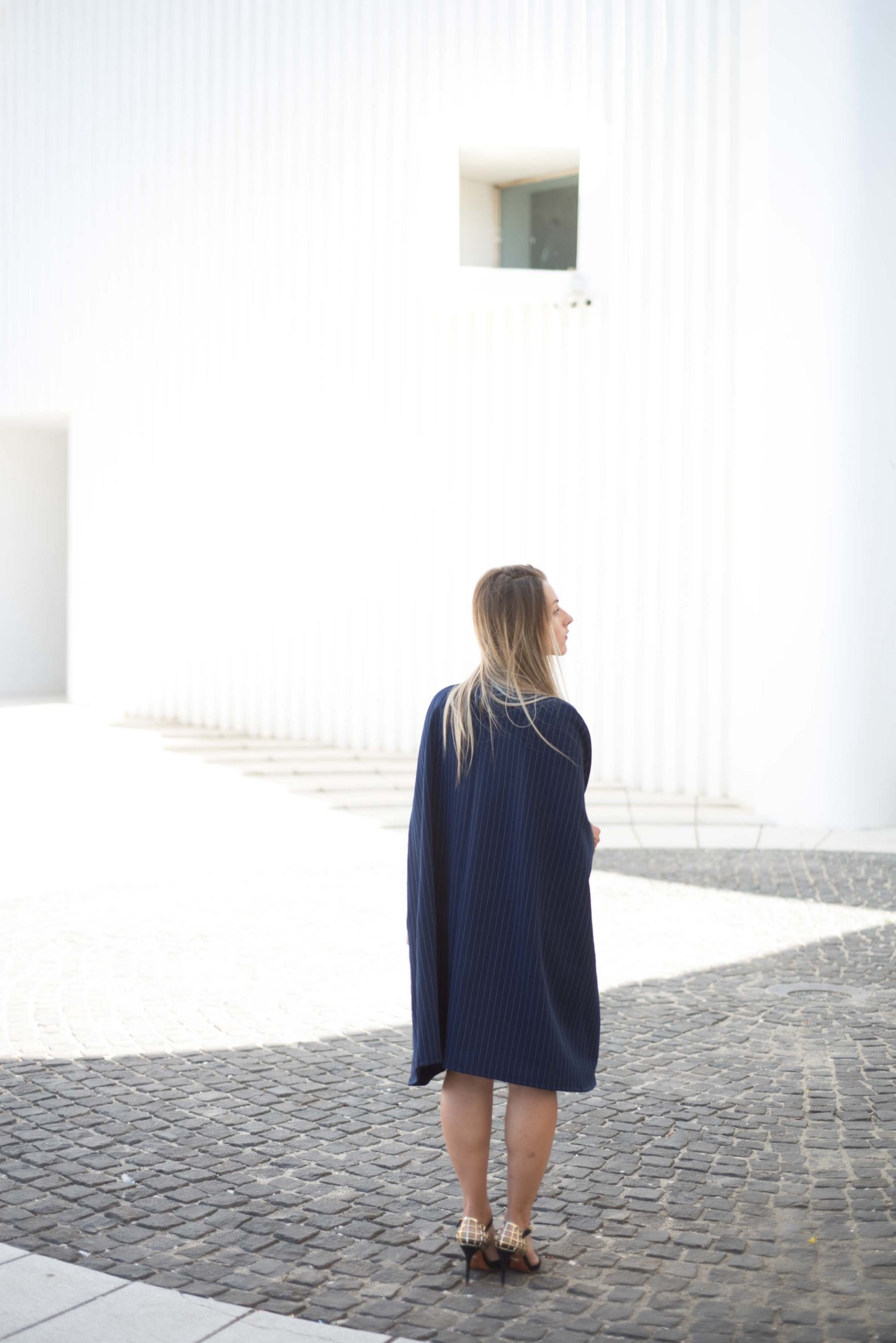 Pinstripe dark blue poncho dress