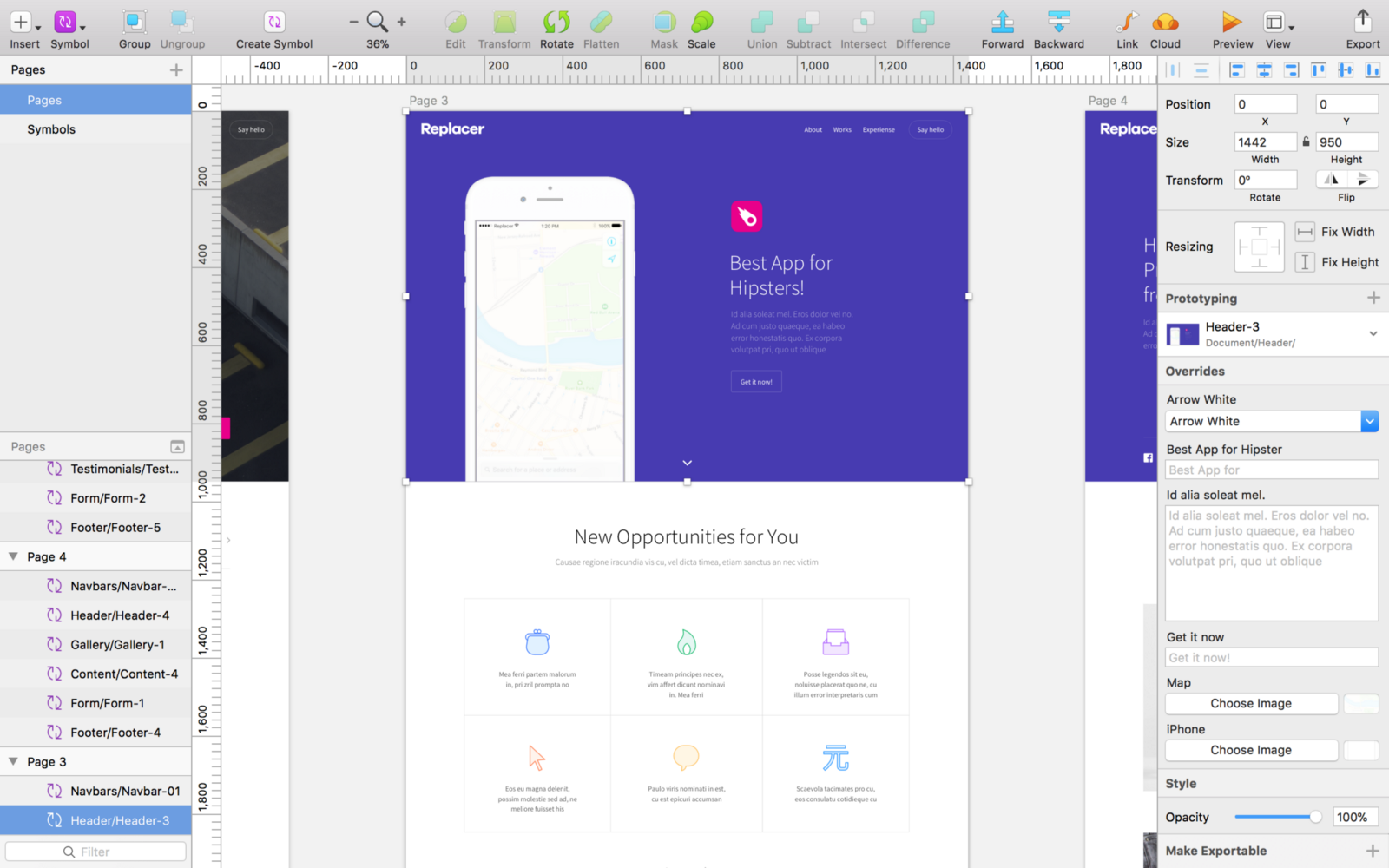 How To Handle Artboard Sizes Designing Web Prototypr Iphone 5 Block Diagram Uikit Landing Page With Two Screens About 1k Px Height Each