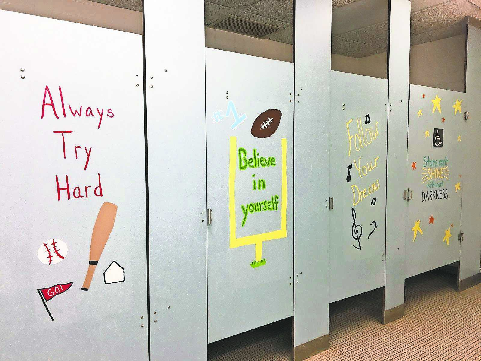District Parents Paint Positive Messages In Elementary Bathrooms - Special paint for bathroom