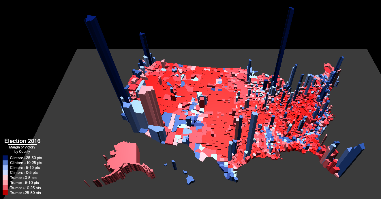 This Map Of County Level Margins In The 2016 Presidential Election Shows The Number Of Votes From Each County As A Third Dimension