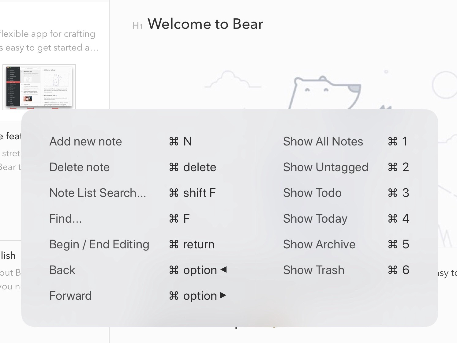 Bear Tips You Can Navigate Bear With Keyboard Shortcuts