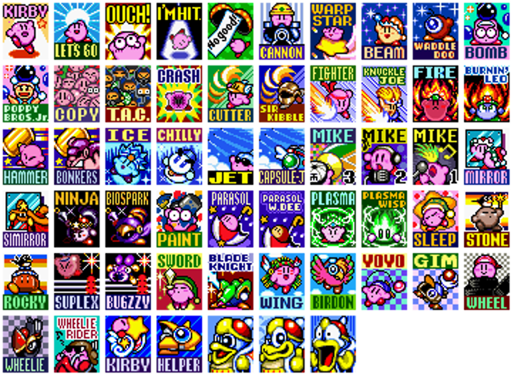 The retrospective collective kirby super star viewport medium the sprite set collection used for the ui in kirby super star these comprise of the abilities you can obtain along with the helper for each explained publicscrutiny Gallery