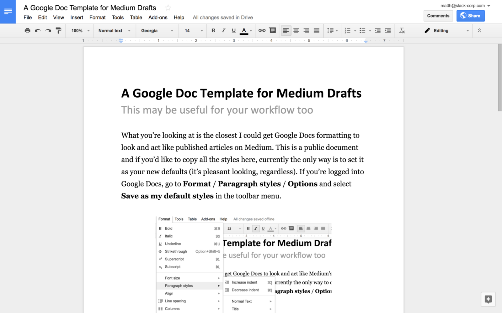 A Google Docs Template For Medium Writers Minutes In The Morning - Google docs google docs