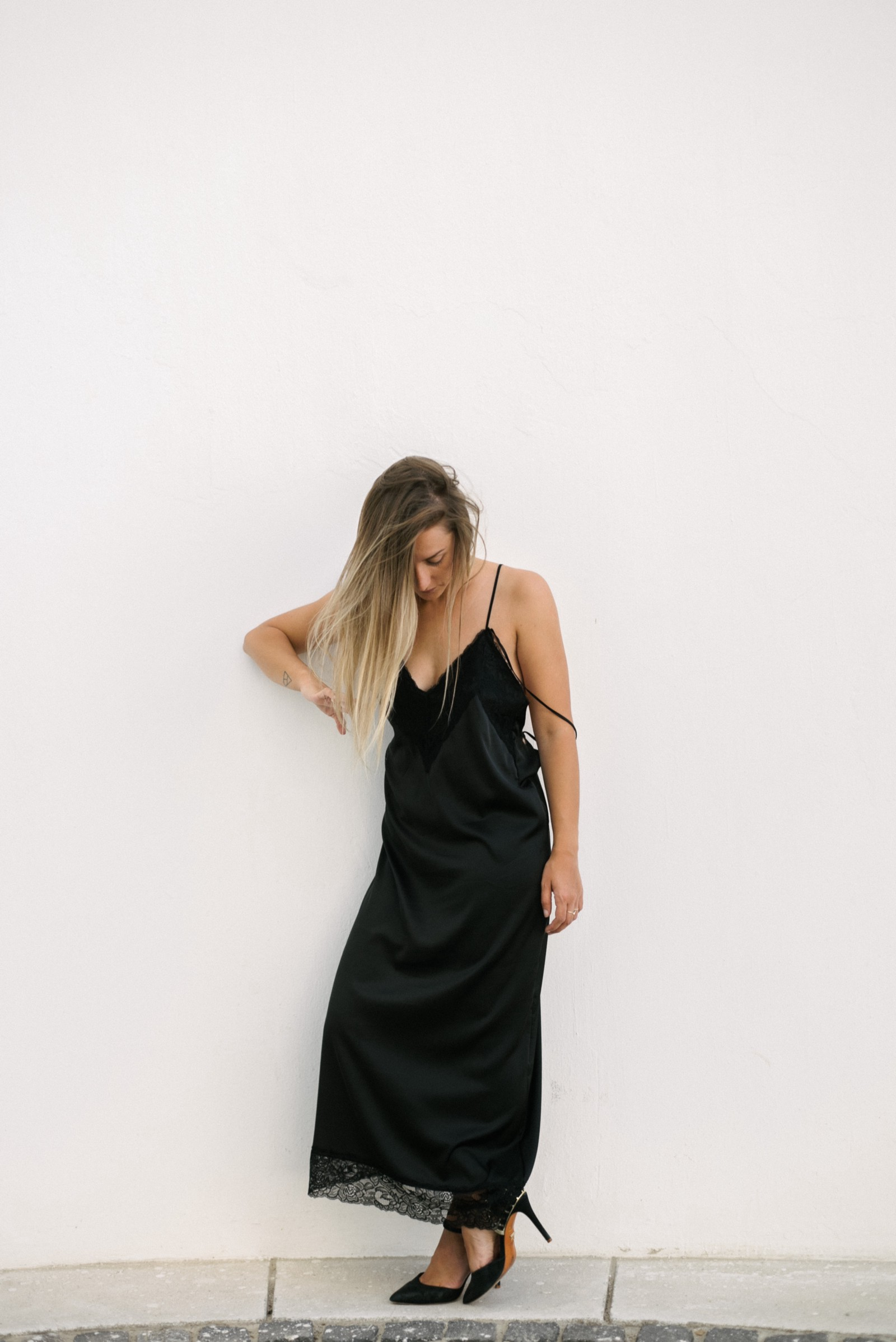 Black bareback lacy 90s slip on dress