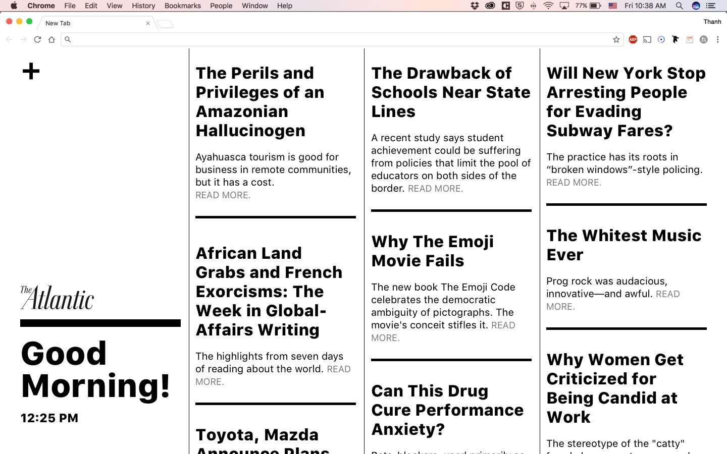 A hack day project: Giving you great journalism in every new browser tab
