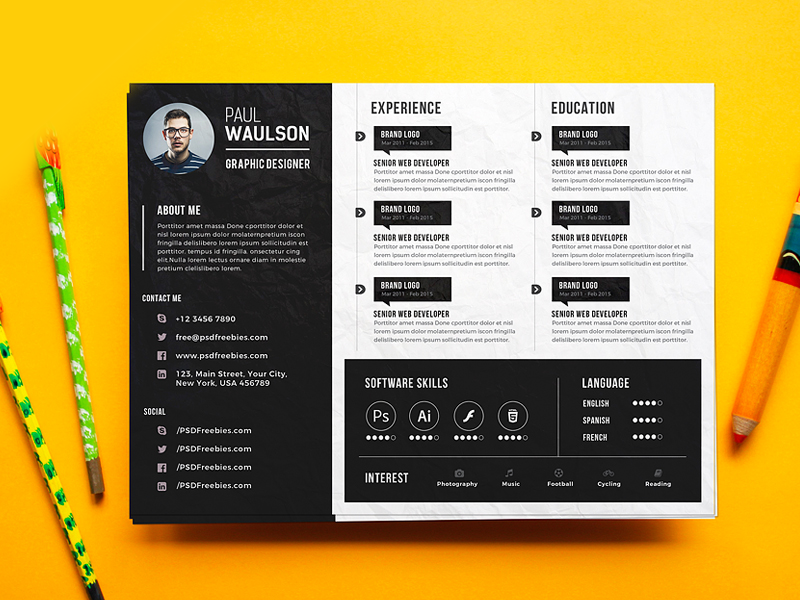 Creative Horizontal CV Resume Template  Graphic Designer Resume Template