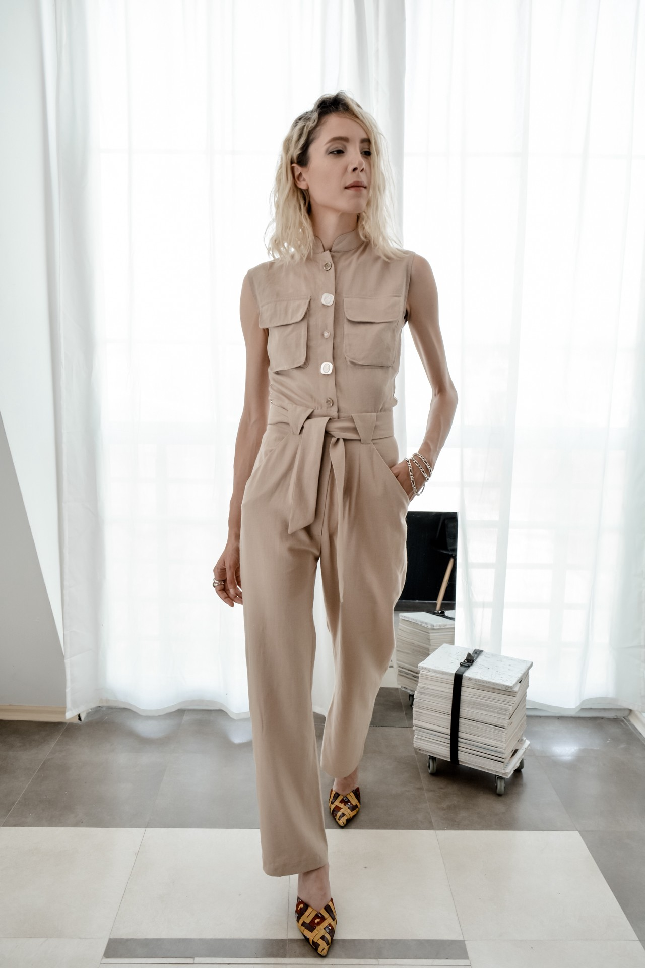 The Penta Jumpsuit by Bastet Noir made of deadstock linen
