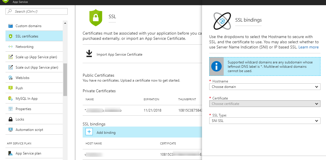 configuring wildcard domain ssl to azure app services