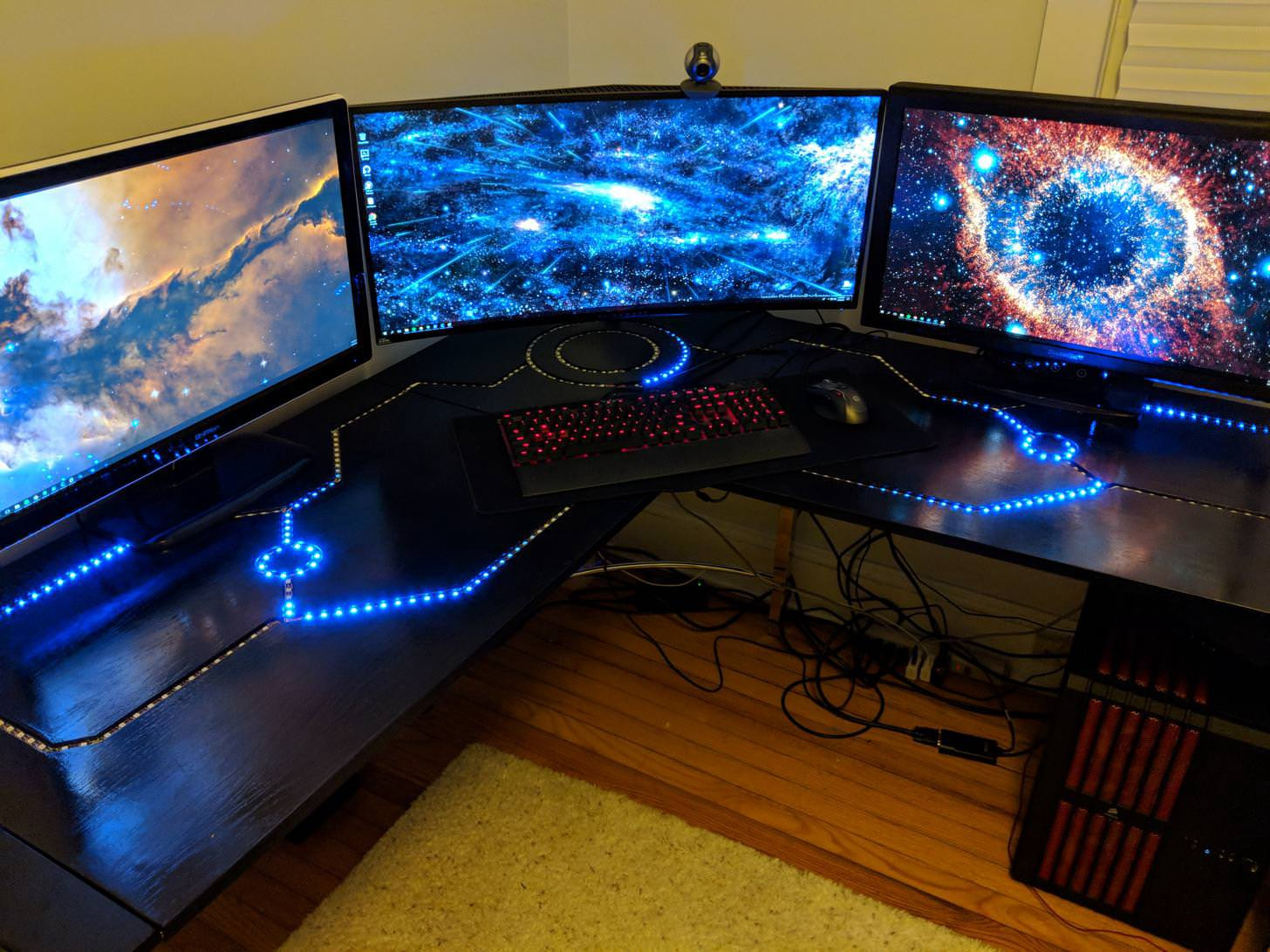 Tron Inspired Desk Made From Hundreds Of Leds And A Raspberry Pi