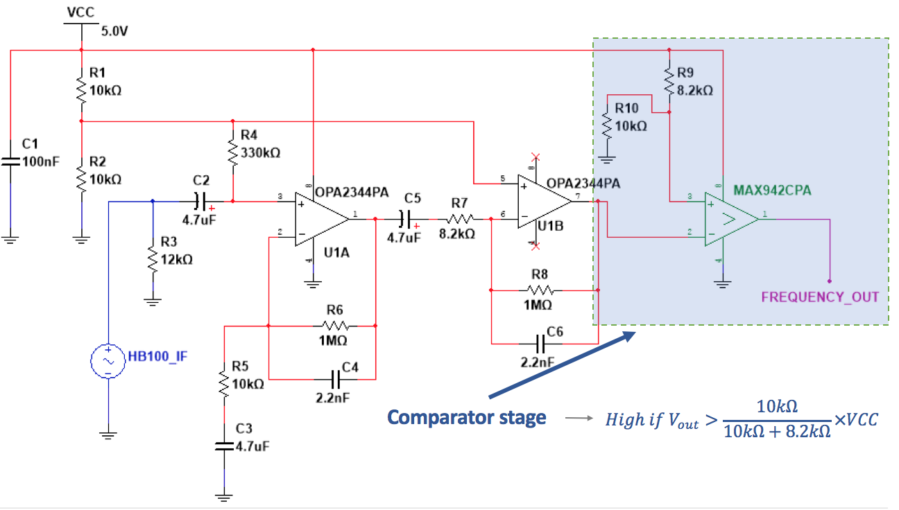 Arduino Intrusion Monitoring System Ben Fraser Medium The Infrared Receiver Circuit Amplifiercircuit Diagram A Full Hb100 Signal Conditioning With Late Stage Comparator For Square Wave Output