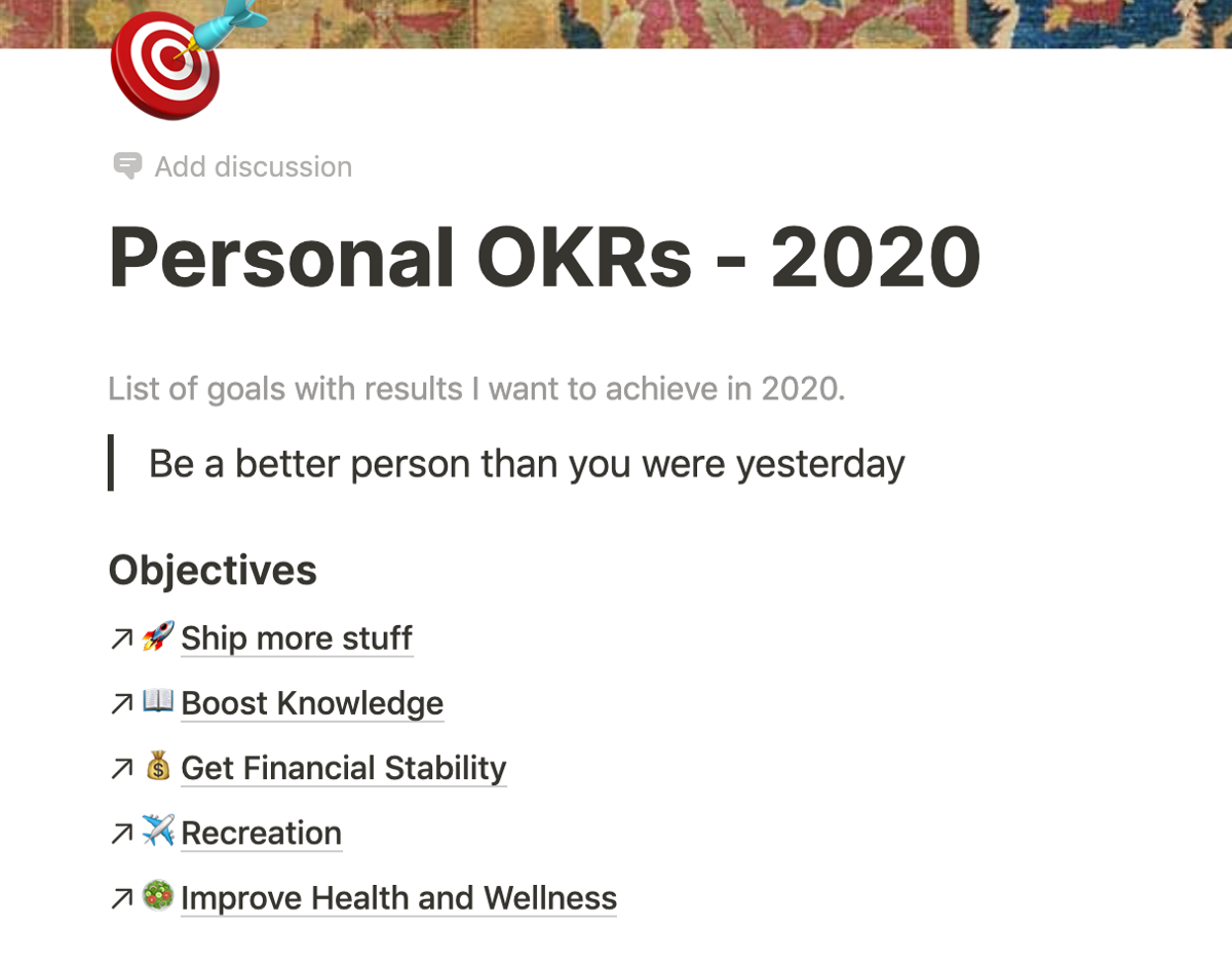 Personal OKR Header Section
