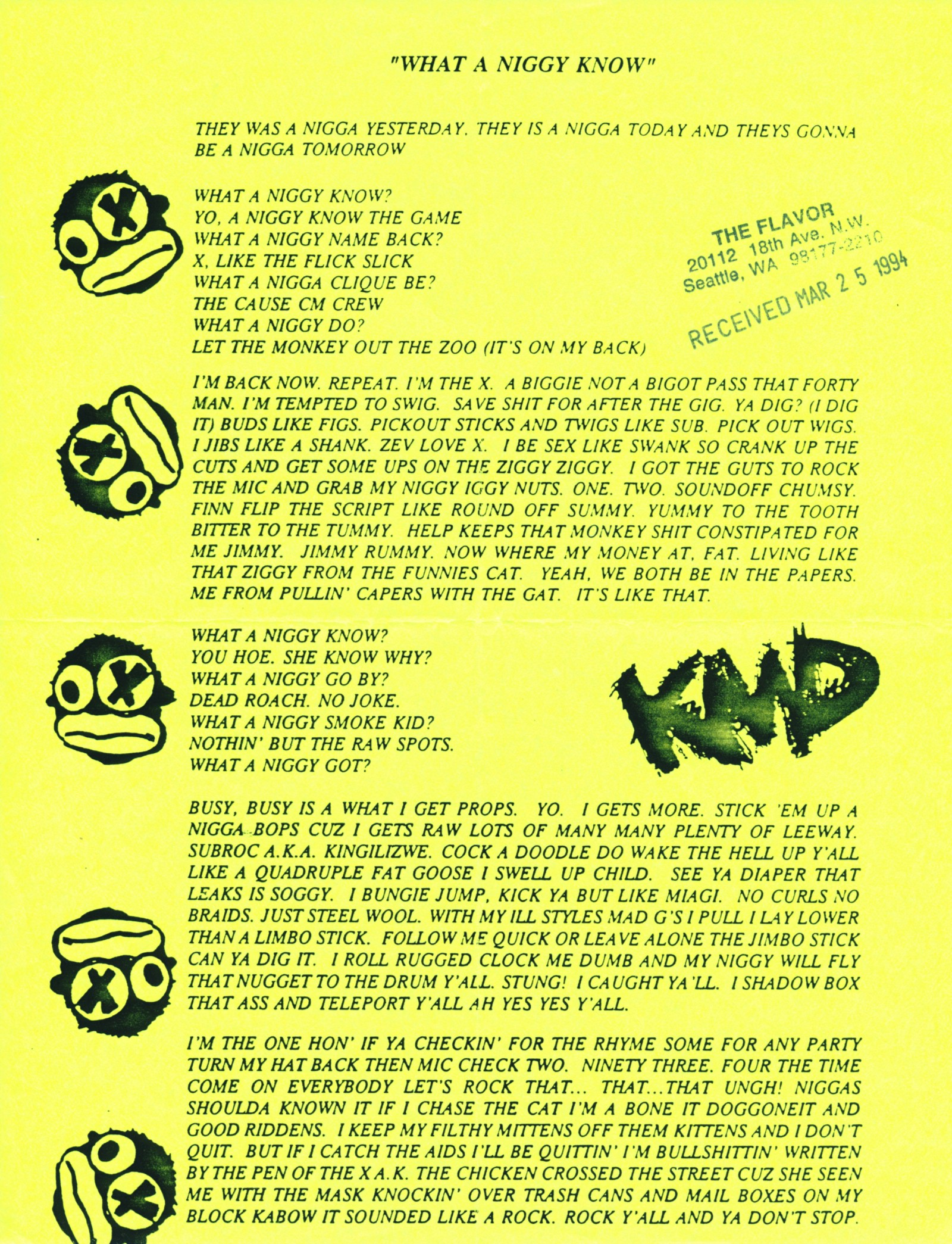 """""""What A Niggy Know"""" lyrics sheet, sent with promo 12–inches by Elektra Records, March 1994 (courtesy of the Adler Hip-Hop Archives / Cornell University ..."""