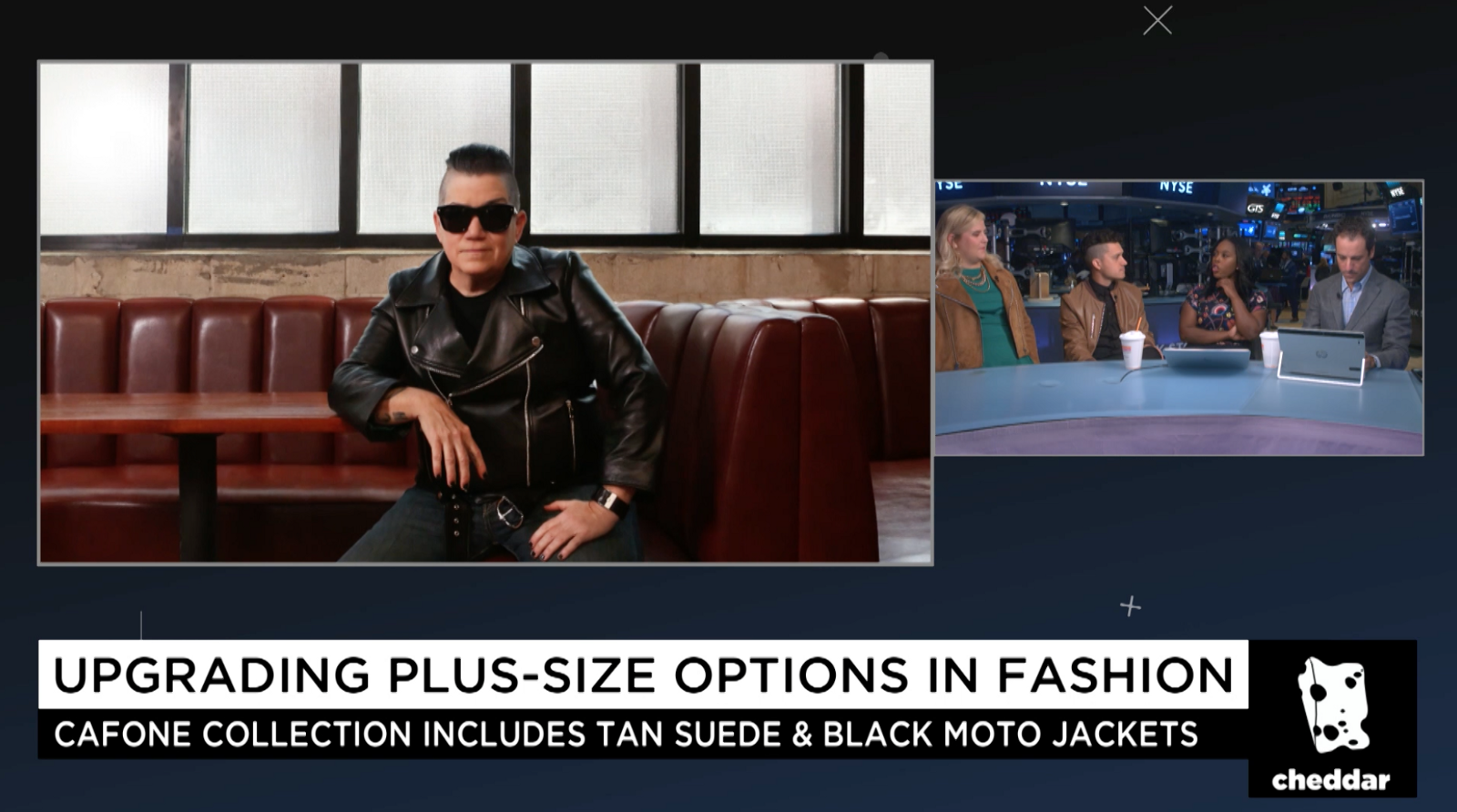 23c5d14085 Jeff Cafone and Anna O'Brien (@GlitterandLazers) discussing plus size  leather jackets on Cheddar TV