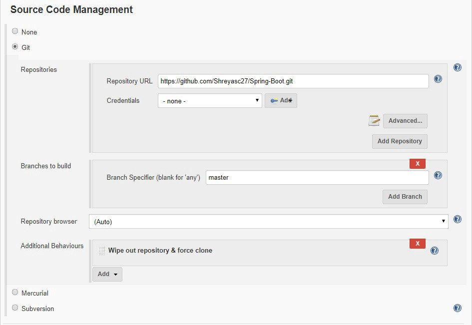scm block in the yaml which results in the above configuration in the Jenkins job