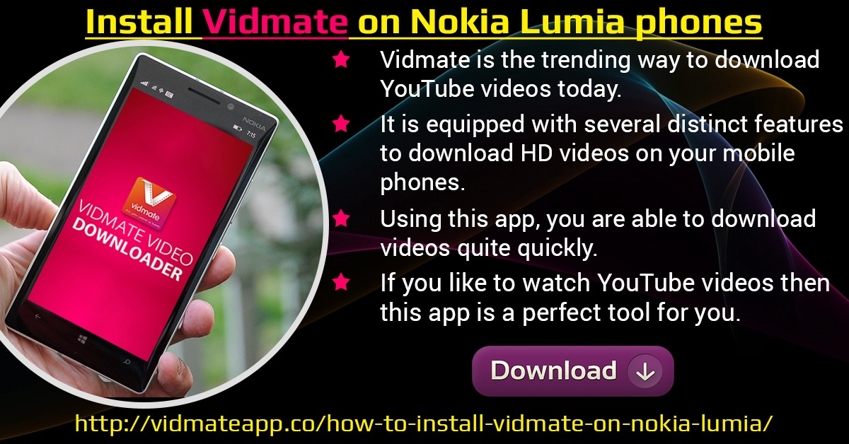 Vidmate on nokia lumia phones vidmate app medium install vidmate for nokia lumia to download youtube videos ccuart Image collections