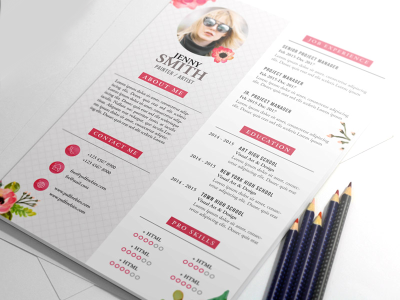 this painter artist cv resume template psd is a4 paper size and is ready for print because its in cmyk at 300 dpi the psd file can be edited in adobe