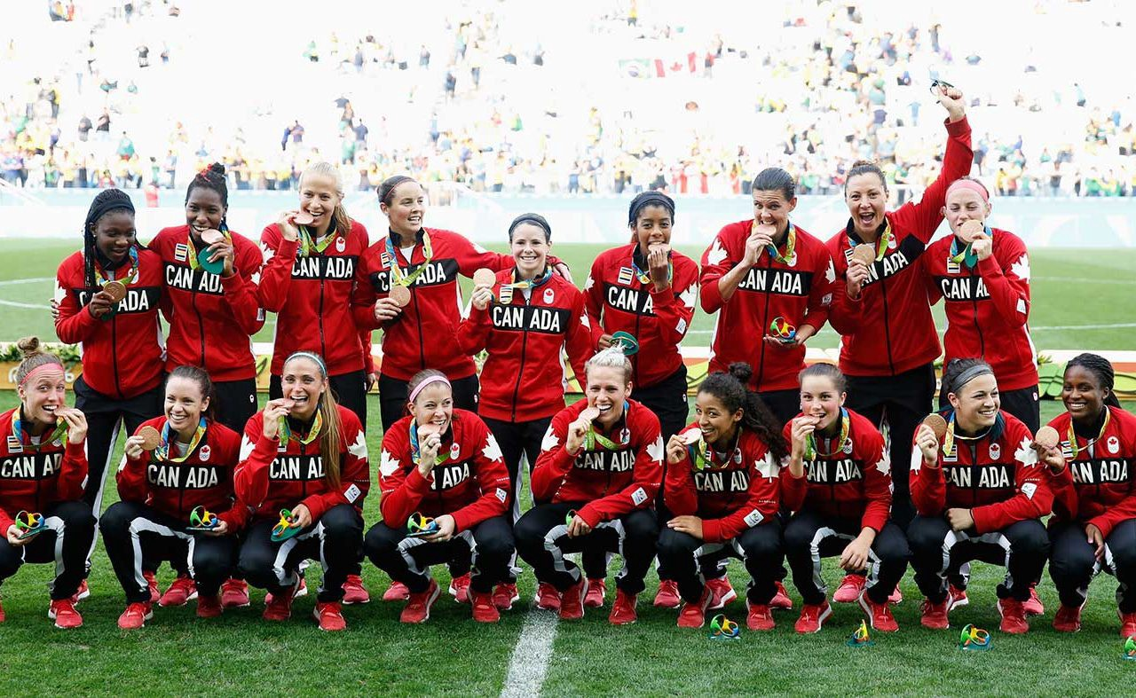 Canadian WOmen's Soccer Team with Medals