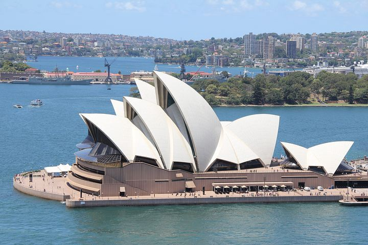 Birds eye view of the world famous Sydney opera house