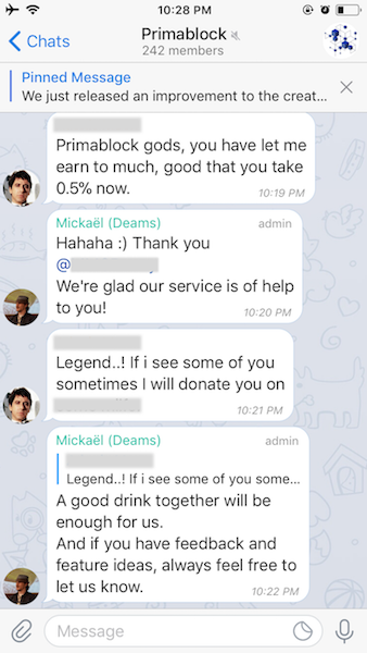 An Early User Testimonial From PBs Buzzing Telegram Support Channel
