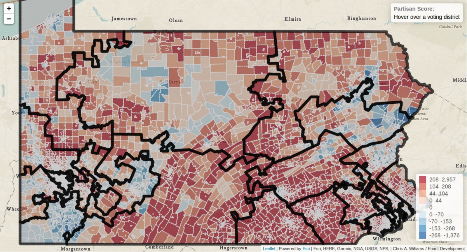 Packing And Cracking A Visual Tour Of Pennsylvanias Congressional - Map-of-us-voting-districts