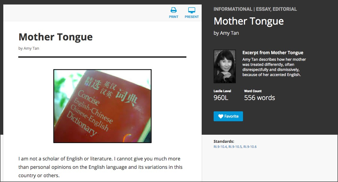 an analysis of the imagery and rhythm in amy tans essay mother tongue