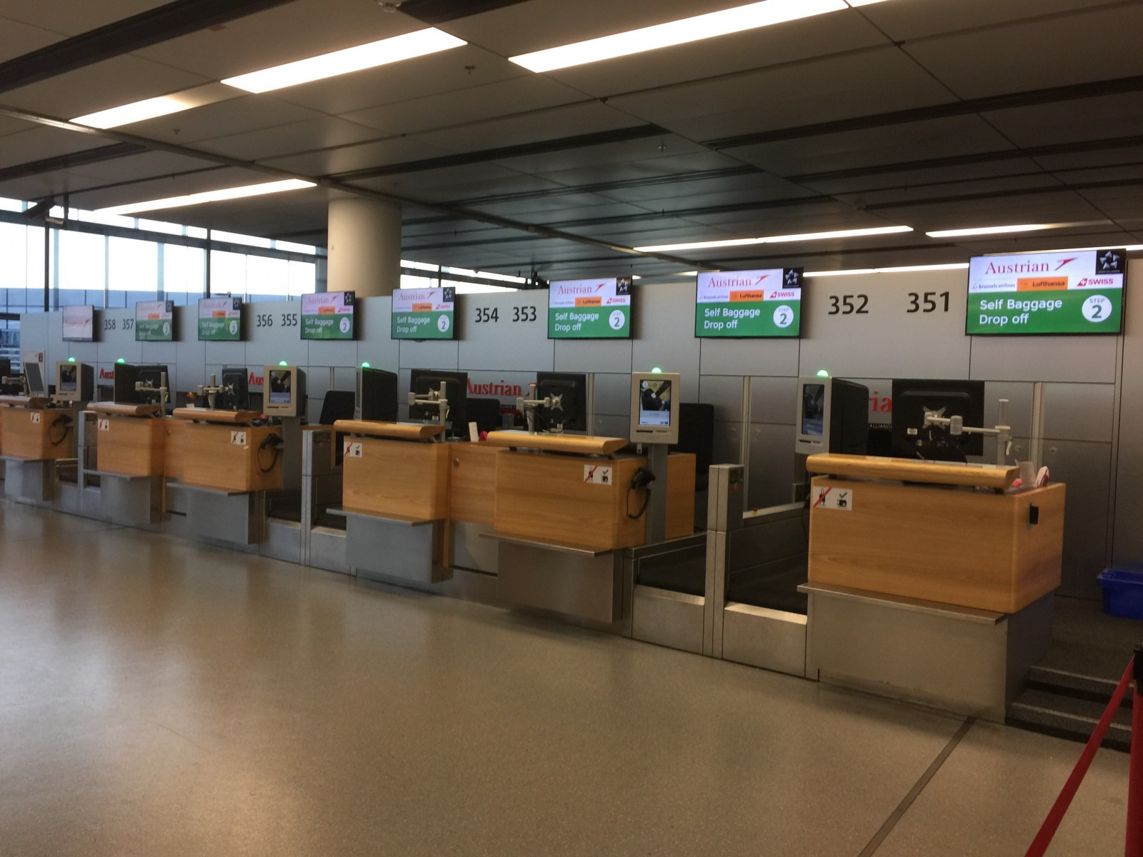 Empty counters at Austrian