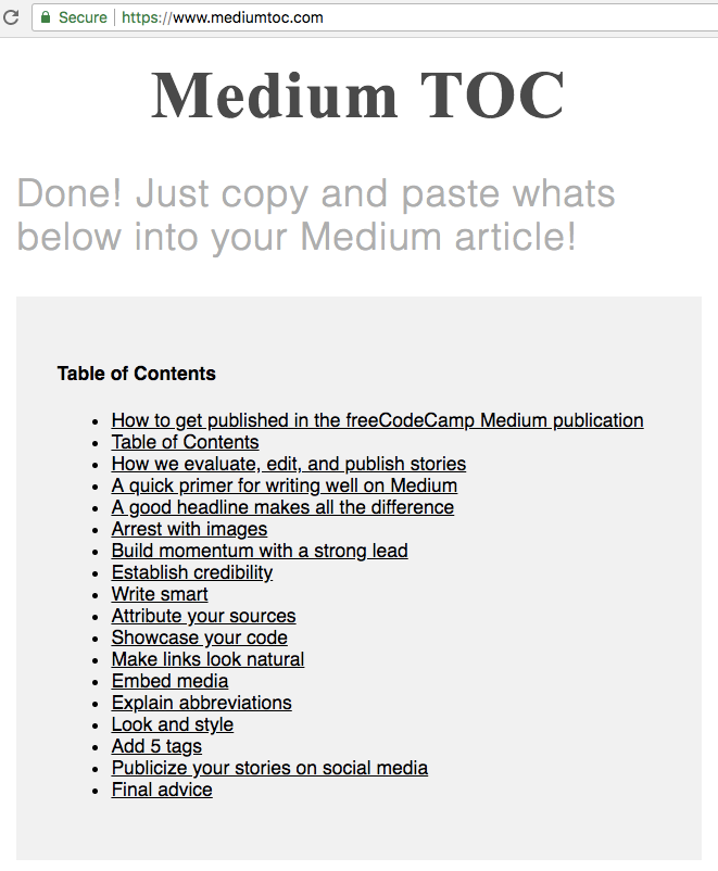 A Screenshot From Mediumtoc.com