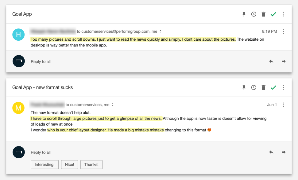 A Snapshot Of The User Feedback Relating To Cards