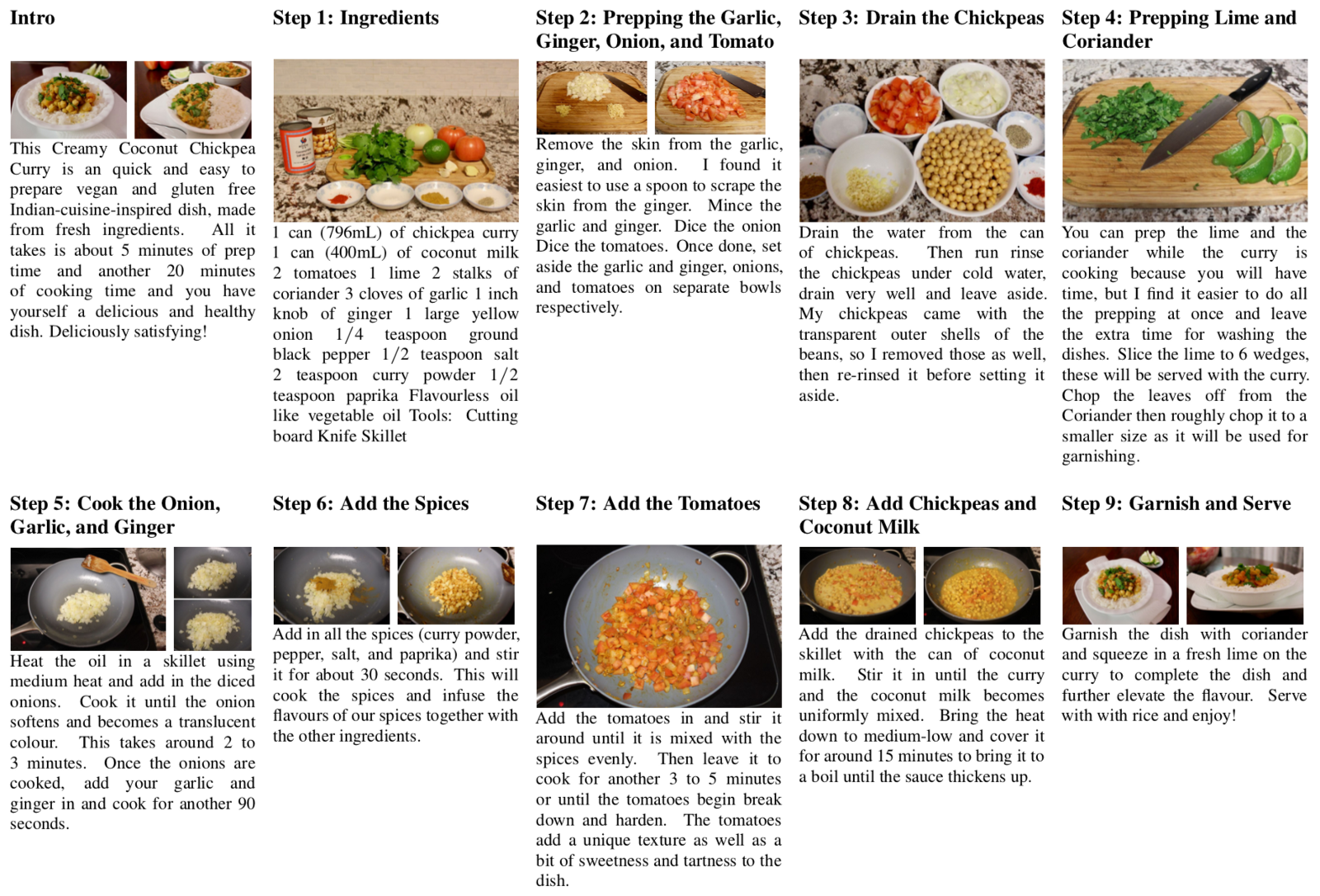 Introducing recipeqa a challenge dataset for multimodal a recipe of creamy coconut chickpea curry with 9 steps forumfinder Image collections