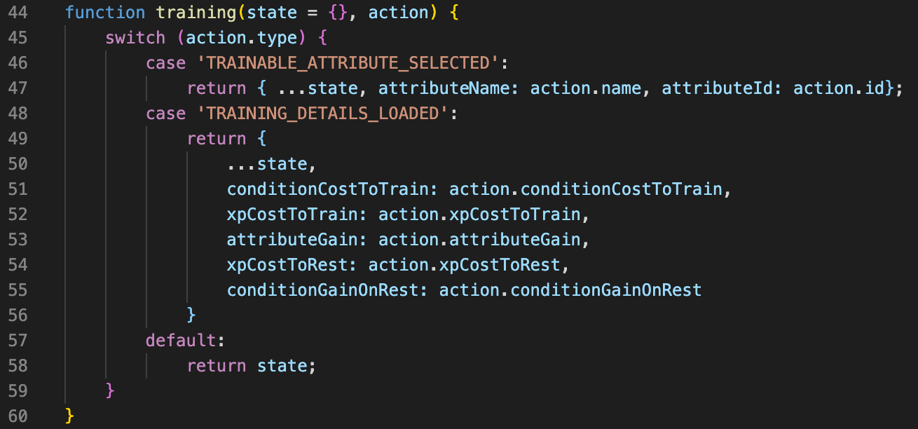 Snippet from reducers.js