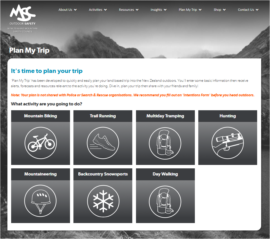 Live plan my trip online planning tool nz mountain for Online planning tool