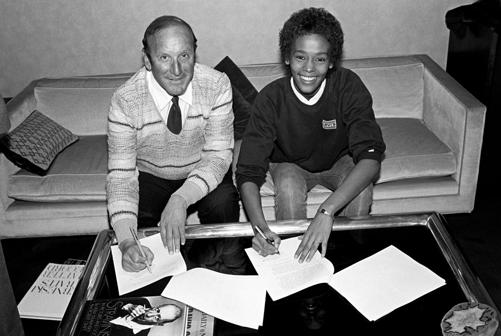 Devising the blueprint leanne de souza medium clive davis and whitney houston signing her contract with arista records april 10 1983 photo credit ebet robertsredferns malvernweather Image collections