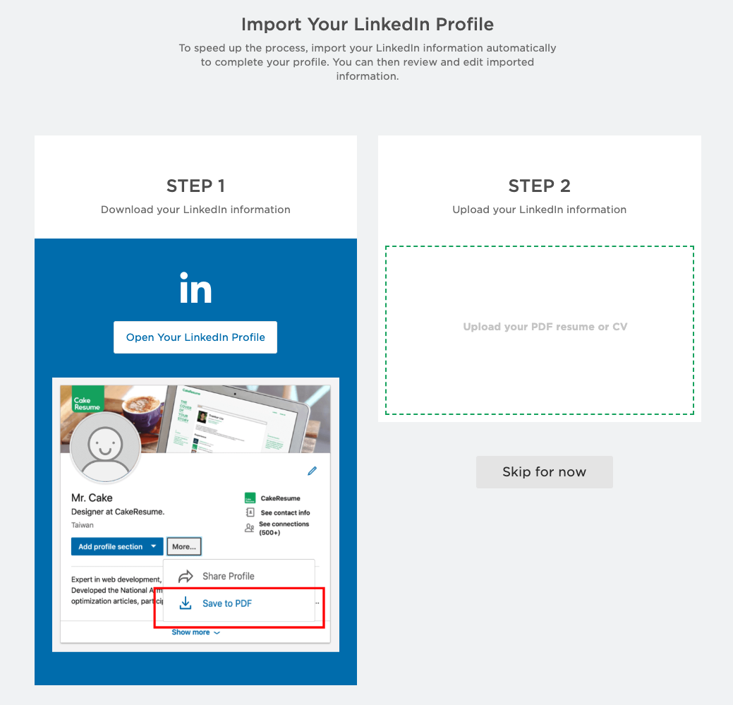 Importing LinkedIn Profile Into CakeResume