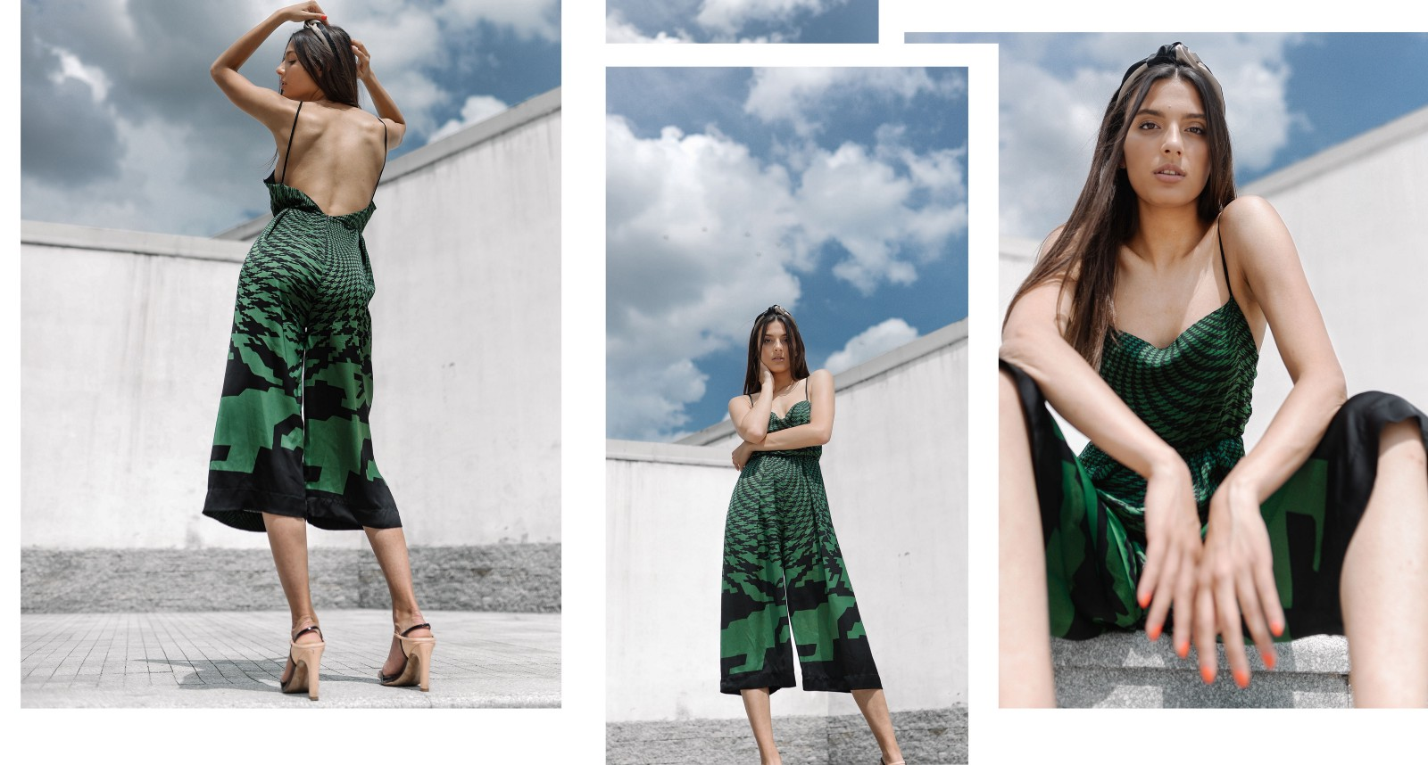 Black and green geometric print bareback jumpsuit