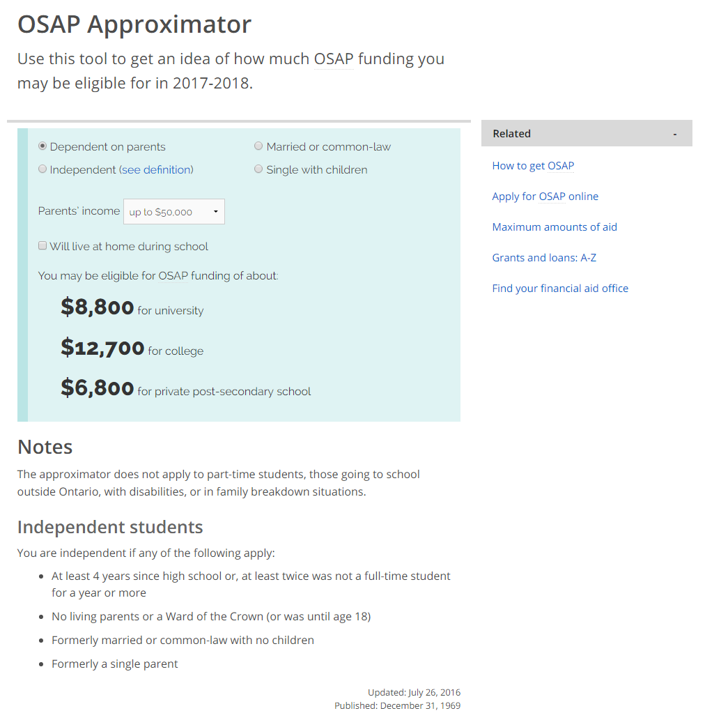 osap: a new financial aid calculator – ontario digital – medium
