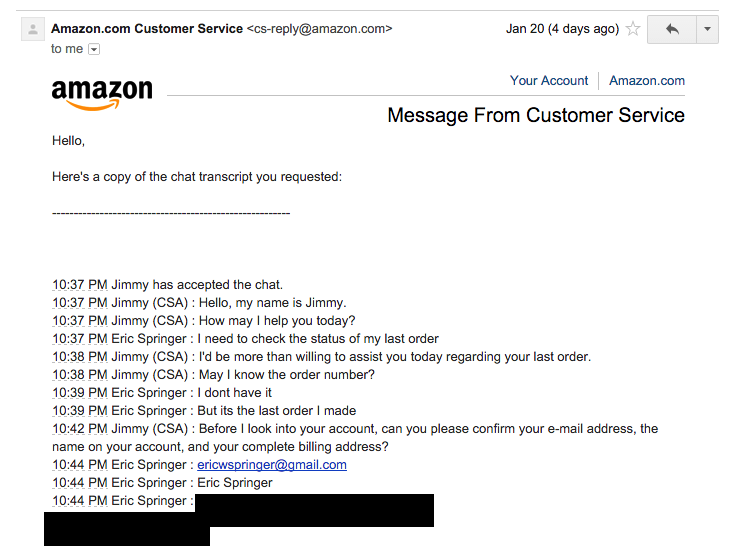 Amazon's customer service backdoor