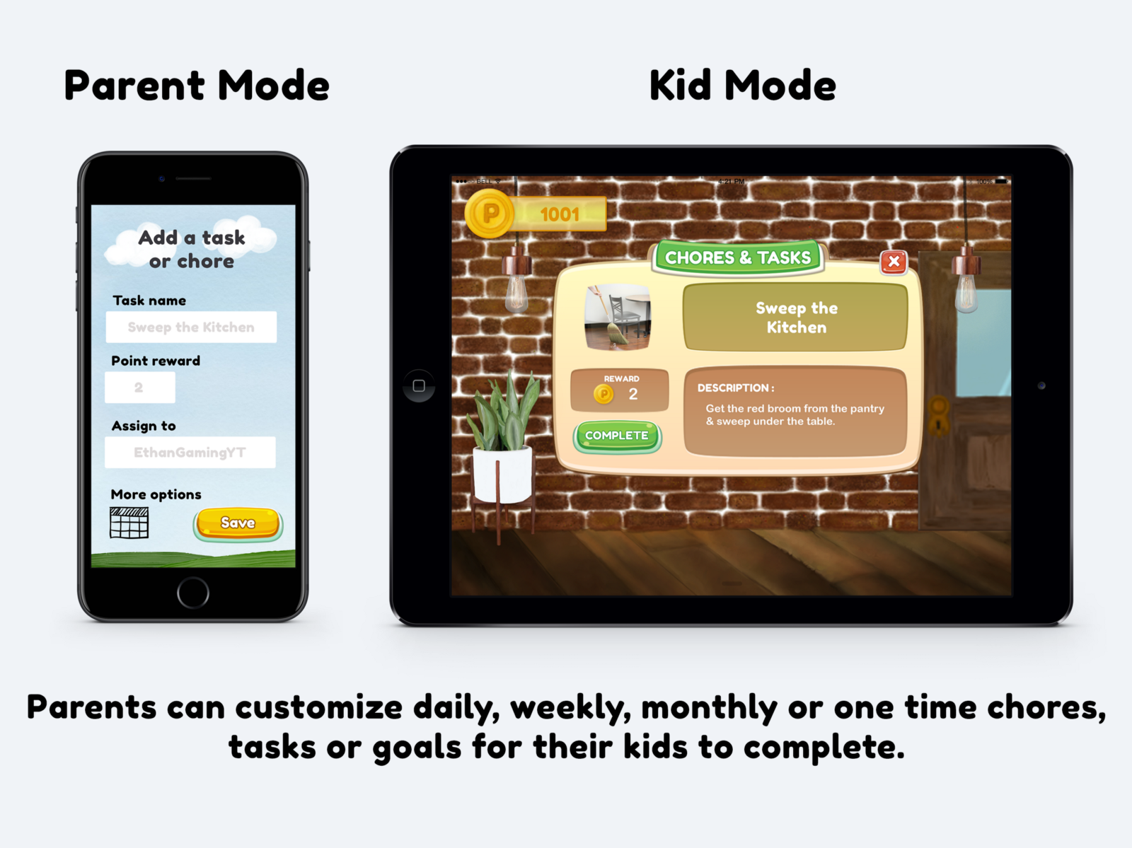 Screen shots of the PopChart Family apps parent and kid chores